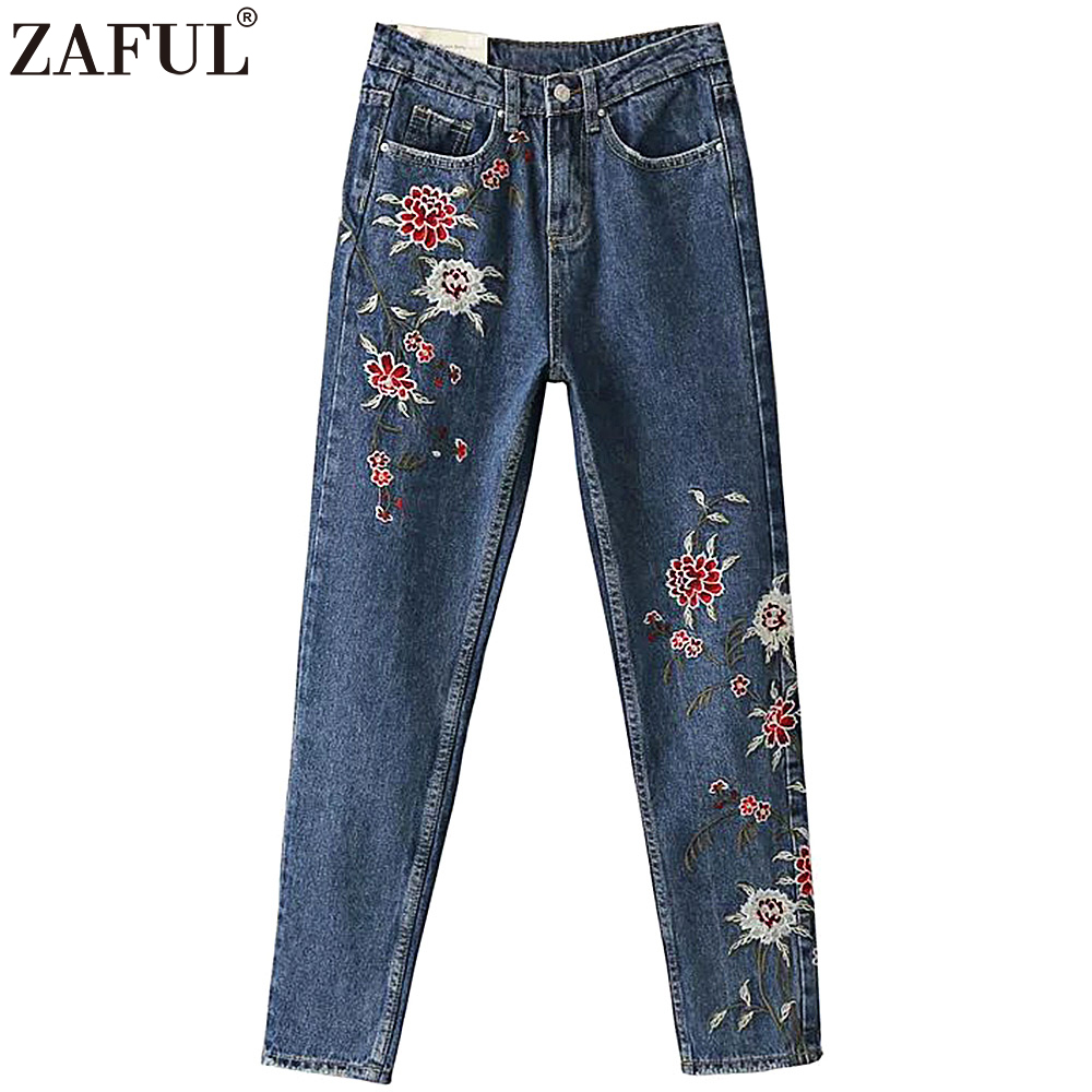 ZAFUL Women Embroidery Flower Jeans Pants Winter Autumn High Wait Denim Bottom Pencil Pant Casual Daily Femme Trouser