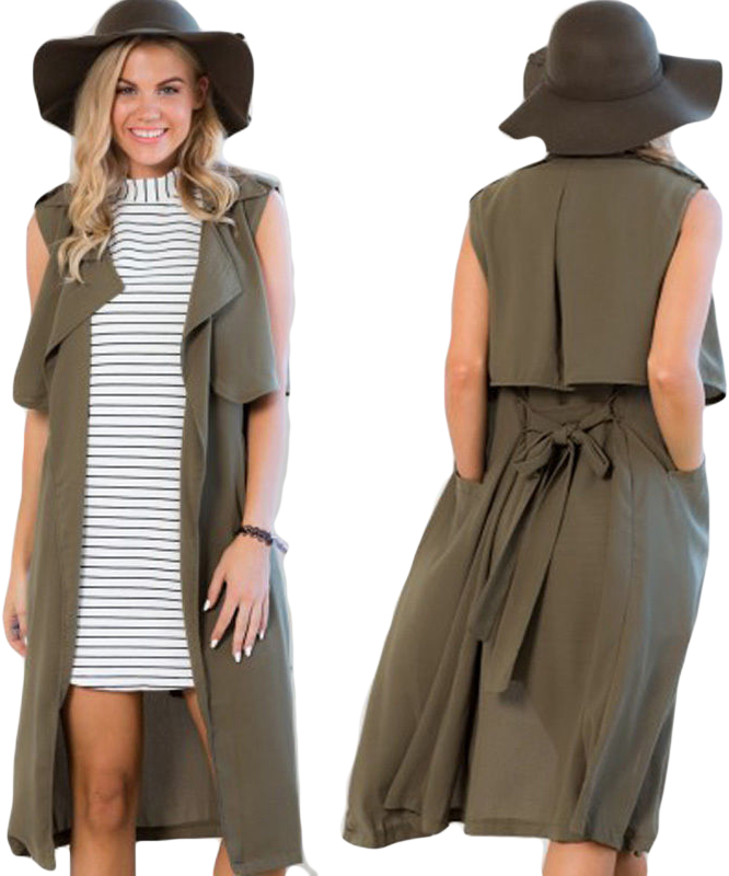 NEW Fashion Ladies Women Chiffon Sleeveless Trench Coat Waterfall ...