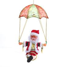 Electric Santa Claus Parachute Plush Doll With Music Light Christmas Tree Hanging Ornament Decoration Kids Friends