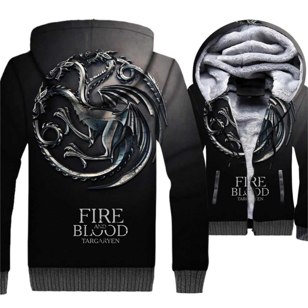 FIRE AND BLOOD Hip Hop Hoodies Men 2018 Targaryen 3D Dragon Jackets Male Harajuku Hoody Game Of Thrones Men's Sweatshirt Hoddies