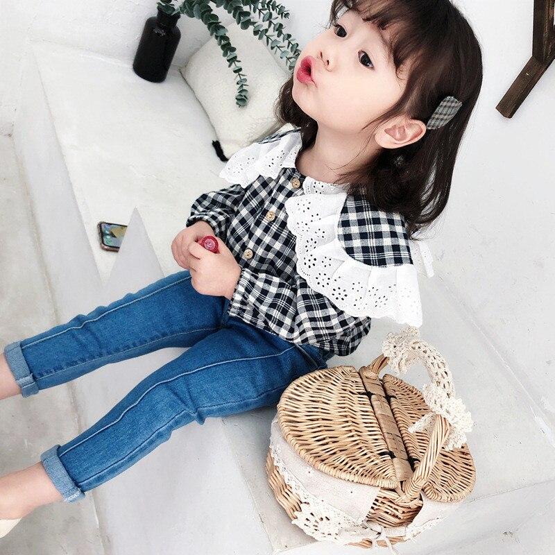 2019 Autumn Long Sleeve Cotton Plaid Lady Girls   Blouse   Toddler Kids Fashion Causal Turn Down Collar Top   Shirt   Children Clothing