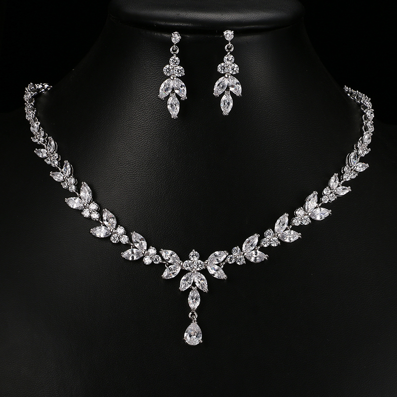 Emmaya Exquisite Jewelry Sets For Women Wedding Party Jewelry Accessories Cubic Zircon Stud Earrings & Necklace Gift 1