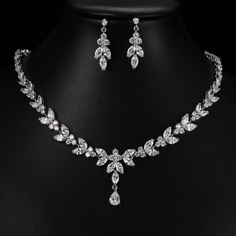 Изысканные комплекты ювелирных изделий Emmaya для женщин, свадебные украшения для вечеринок, аксессуары, серьги-гвоздики и ожерелье с кубичес...