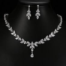 Emmaya juegos de joyas para mujer, joyería para fiesta y boda, accesorios, aretes de tuerca de circón cúbico y collar, regalo