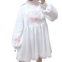 Lolita Winter New Harajuku Sweet Cat Print Dress Cute High Collar Splicing Mesh kawaii Lantern sleeve Dresses