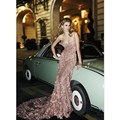 Sexy Blush Evening Dresses Long Flora Applique Elie Saab Couture Dress 2016 Open Back Formal Prom Party Gown Custom Made