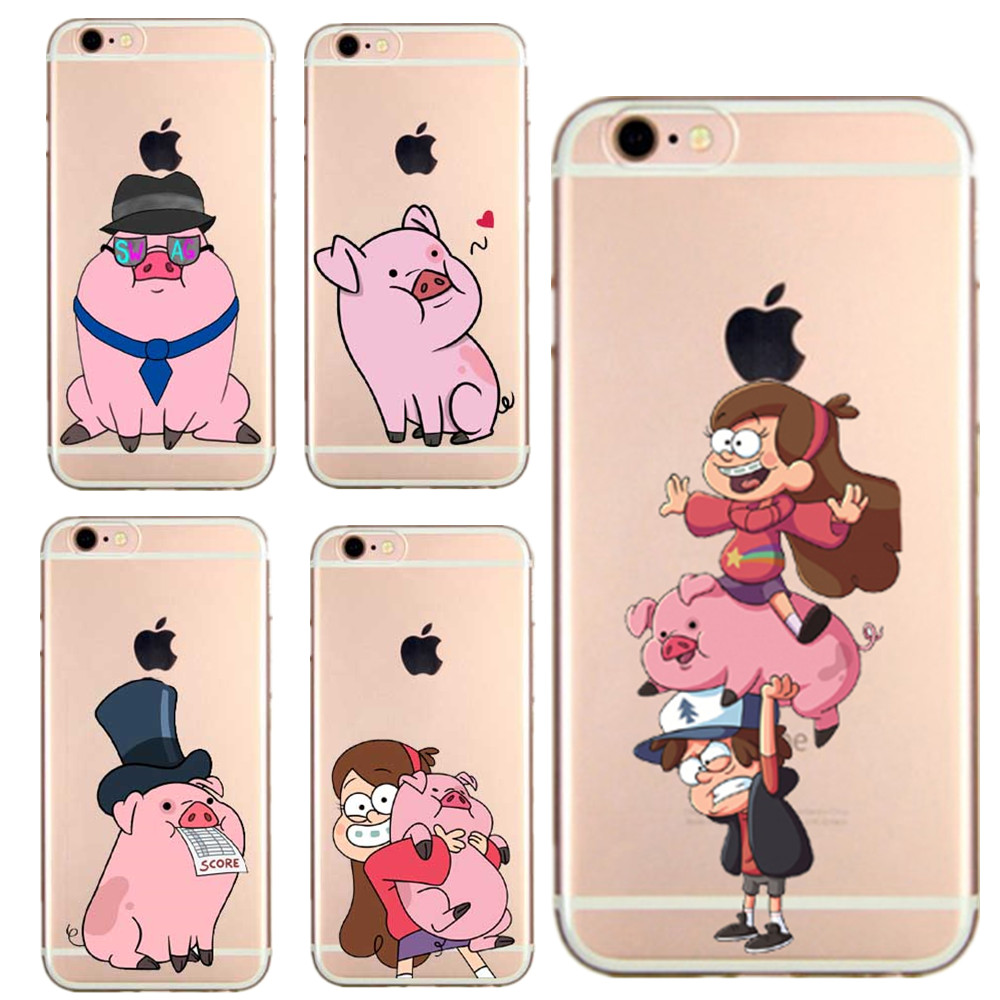 Mabel Gravity Falls 3 soft TPU Transparent Case Cover for iPhone 7 7 Plus 5 5s SE 6 6s 6Plus Cartoon animals pigs Phone CasE