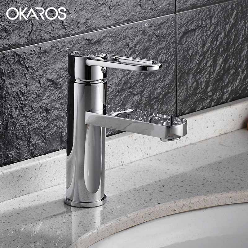 OKAROS Contemporary Bathroom Basin Faucet Chrome Finish Solid Brass Single Handle Hot Cold Water Deck Mounted Tap Mixer basin faucet water tap bathroom faucet solid black red brass chrome gold finish single handle sink cold and hot water mixer tap