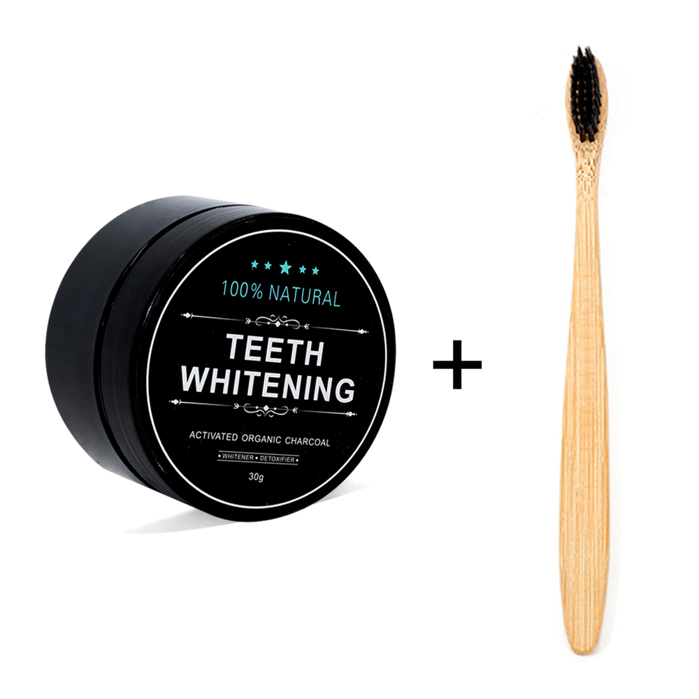 Teeth Whitening Powder Activated Coconut Charcoal Powder Bamboo Teeth Whitening Kit With Toothbrush For Oral Hygiene 30g