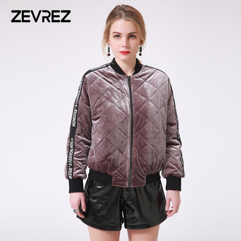 Winter Female Velvet Quilted Jacket Brand Letter Patchwork Z