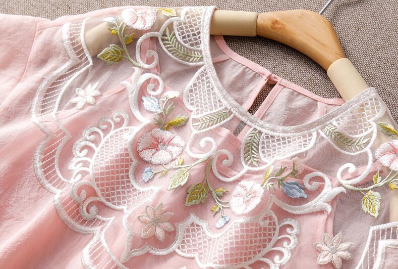 D'été broderie ChiffonPink/blanc femmes chemises la manches chauve-souris lâche deux pièces tenue mode dame blouse à manches courtes S-XL - 5