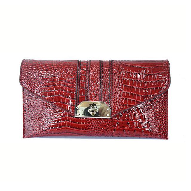 Women Clutch Bag Genuine Leather Envelope Ladies Hand Bag Fashion Chain Shoulder Bag Crocodile Leather Party Day Clutch Purse 94