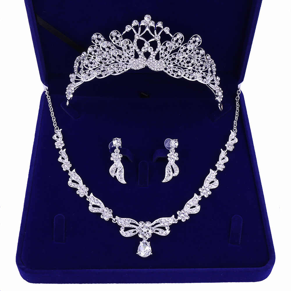 Bride Crystal Butterfly Leaf Costume Jewelry Sets Rhinestone Choker Necklace Earrings Tiaras Crown Set Women Wedding Jewelry Set
