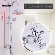욕실 샤워 세트 벽 마운트 샤워 꼭지 믹서 탭 승/비 샤워 헤드 및 핸드 헬드 샤워 크롬 완료 ML8501