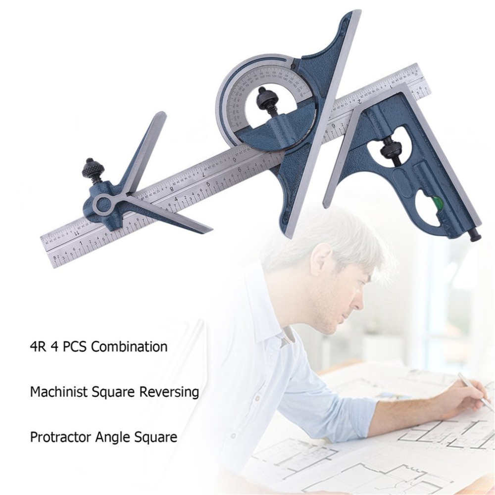4R 4 PCS Machinist Square Reversing Protractor Angle Square Marked 1/32 1/64 1/8 1/16 Multifunctional Combination machinist diamond