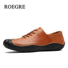 ROEGRE Brand Quality 2018Comfortable Men's Flats Loafers men Shoes Lace-up Solid Men's Leisure Shoes Leather Casual Shoes Freesh