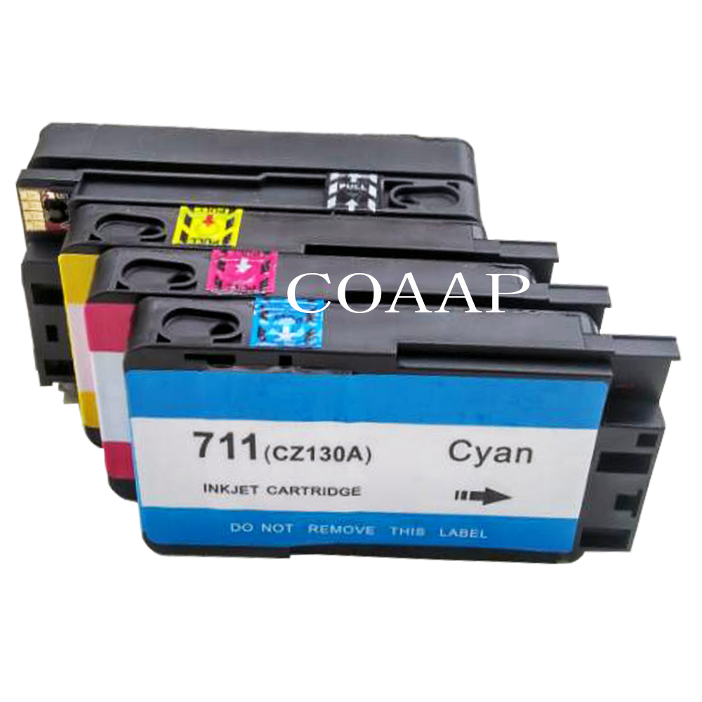 1Set Compatible HP 711 CZ133A CZ130A CZ131A CZ132A Replacement Ink Cartridges for HP DesignJet T520 T120 Printer Full Ink картридж hp cz131a 711 magenta для designjet t120 t520 29ml