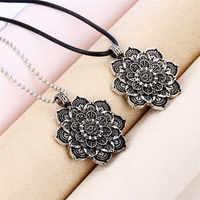 Legierung Mandala Lotus Blume Anhänger Halsketten Für Frauen Charme Leder Kette Amulett Religiöse loto fiore Schmuck