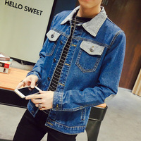 New 2016 Autumn Winter Men S Denim Jacket Bust Double Pockets Mens Jackets And Coats Patchwork
