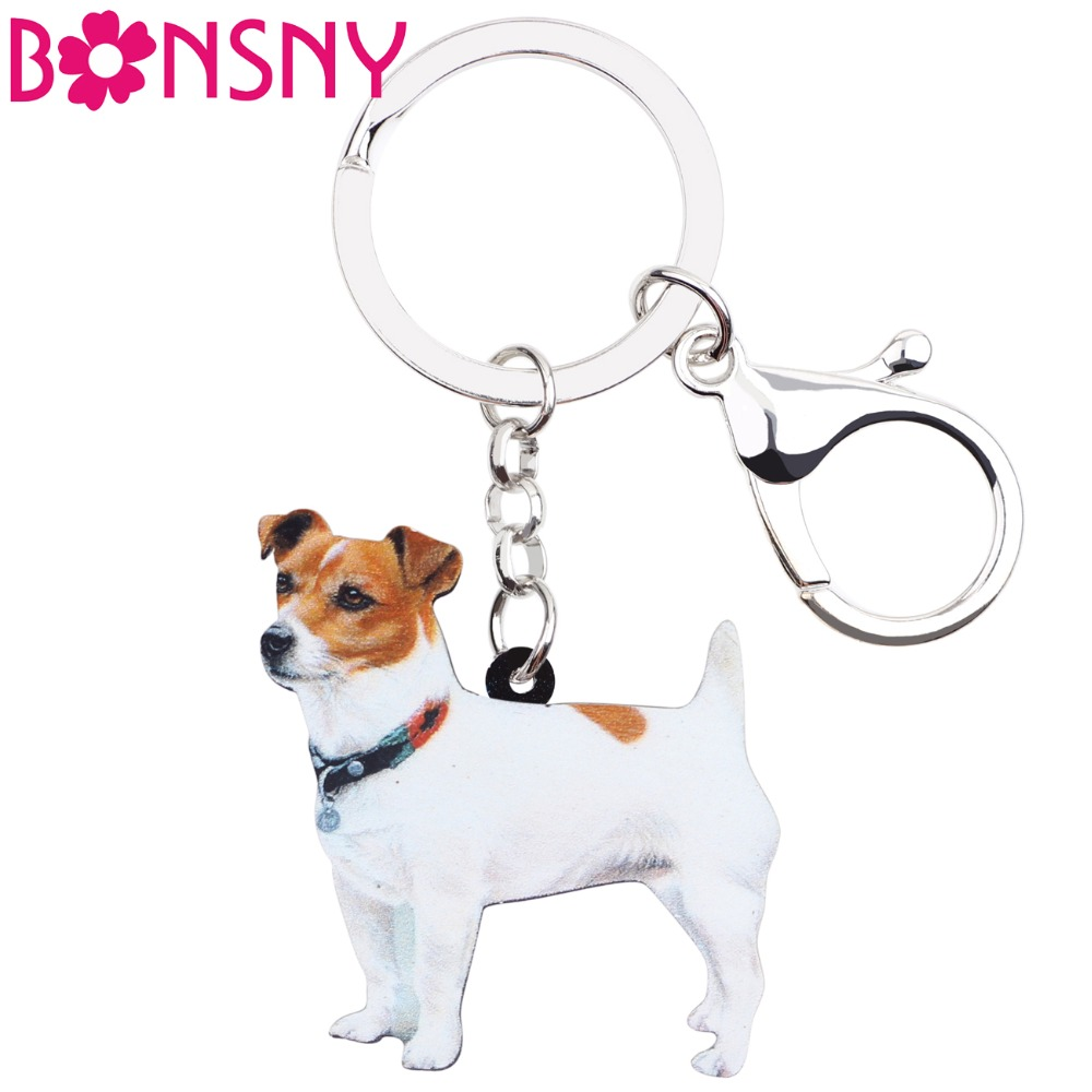 Bonsny Acrylic Cute Jack Russell Dog Key Chains Keychain Rings Women Girl Ladies Handbag Car Charms Animal Jewelry Wholesale Pet