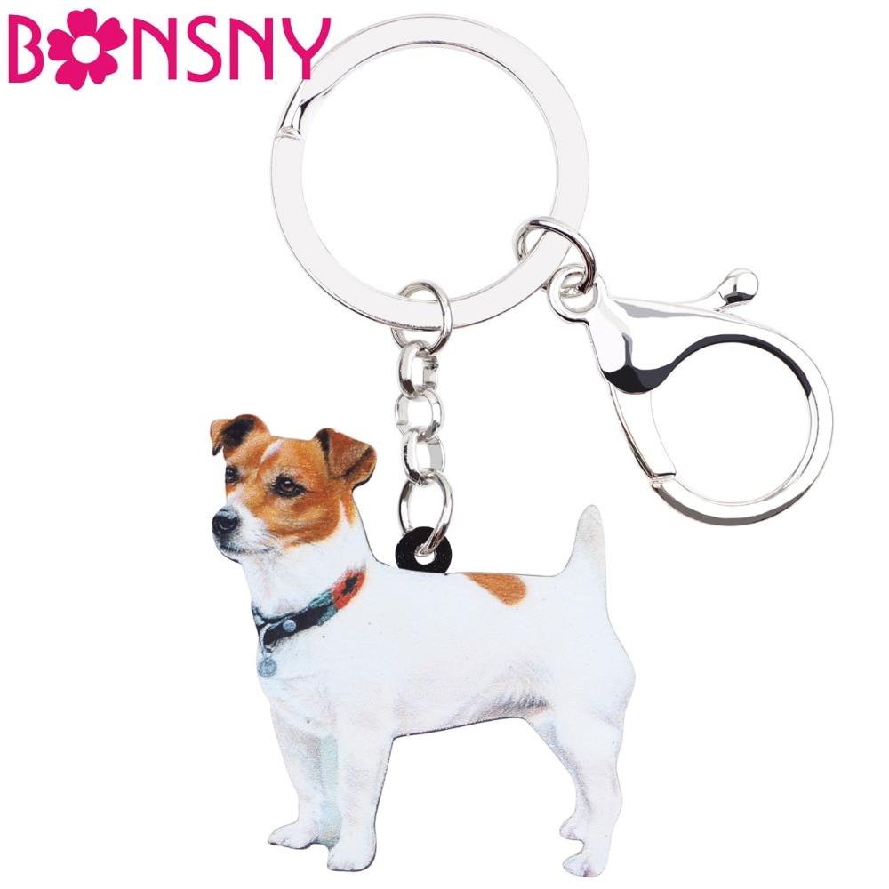 Bonsny Acrylic Cute Jack Russell Dog Key Chains Keychain Rings Women Girl Ladies Handbag Car Charms Animal Jewelry Wholesale Pet