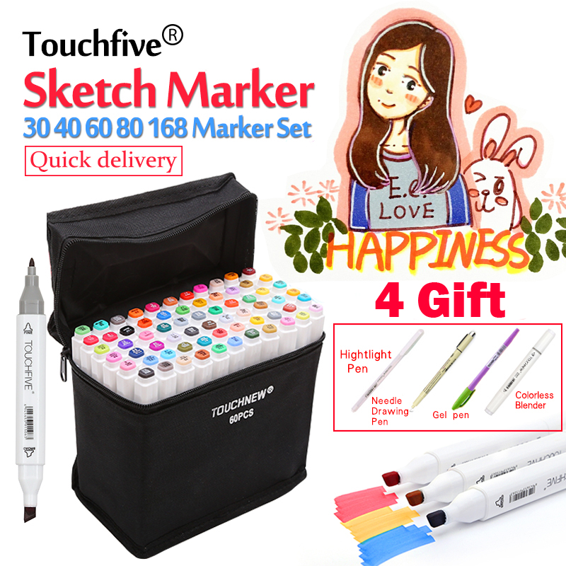 TouchFIVE Art Markers 30/40/60/80 Colors Alcoholic Oily Based Ink Art Marker Set Best For Manga Dual Headed Art Sketch Markers manga design 24 color three generations oily alcoholic paint mark pen permanent marker sketch double headed copic markers