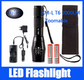 CREE XML T6 5 Modes 2000 Lumens Led Flashlight Camping Lantern Torch Lamp Hunting Lamps Tactical Light +18650 Battery+Charger