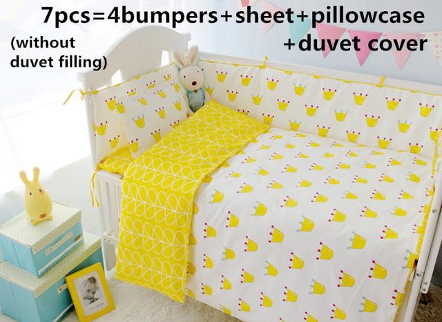 ¡ Promoción! 6/7 unids corona bebé juego de cama de algodón bebé ropa de cama cuna sets tope de cuna cama, Edredón cubierta, 120*60/120*70 cm