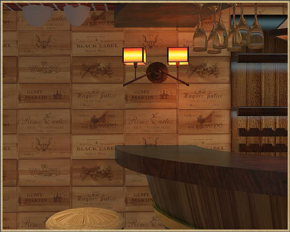 beibehang Faux wood grain three-dimensional vintage wallpaper nostalgia wine box tartan label wall paper Living room background junran america style vintage nostalgic wood grain photo pictures wallpaper in special words digit wallpaper for living room