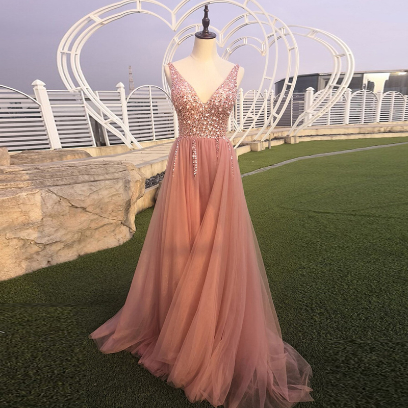 Real Photo evening dress skirt 2019 beads Tulle new beautiful bean paste color V neck off