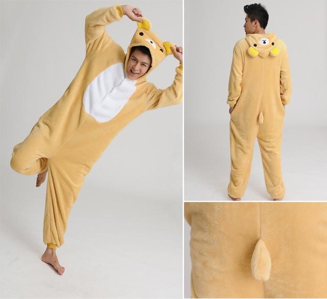 361868aed267 Japan Rilakkuma Cosplay Costume Pajamas Pyjamas Baggy Soft Flannel Adult  Animal Onesies Women sleepwear Party wear for Christmas