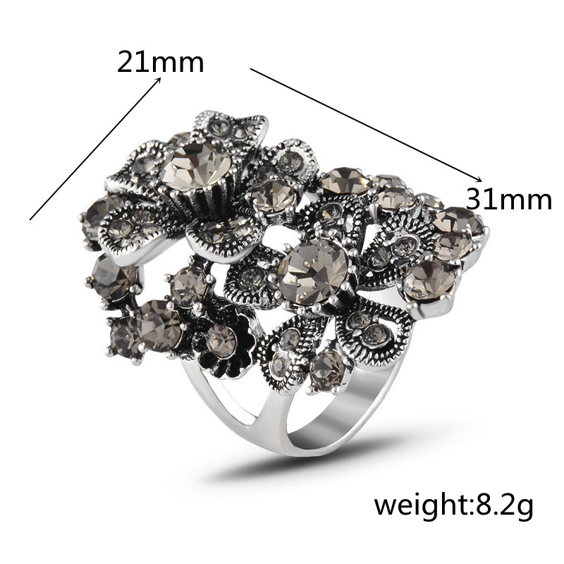2019 vintage Jewellery classic Index finger ring Antique Silver color Rings Austrian Crystal Flower Rings for Women J02810 in Rings from Jewelry Accessories