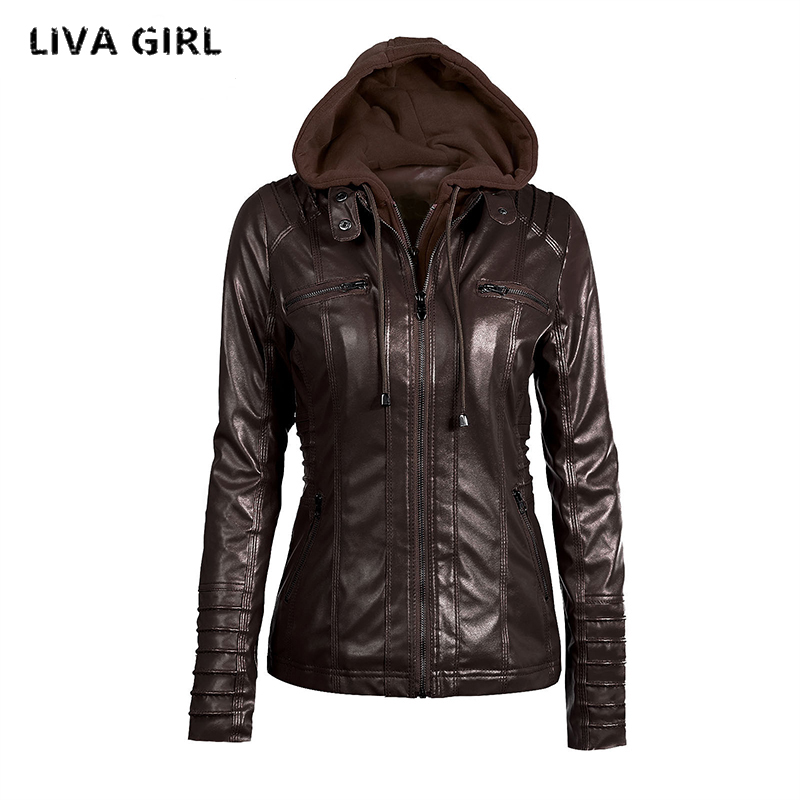 Liva Girl kožená bunda dámská plus velikost 7XL zimní dámský kabát odepínací čepice Jaqueta De Couro Feminino Abrigo Mujer YP70738