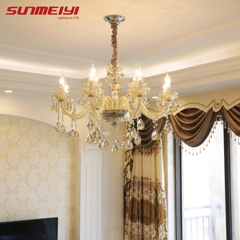 Novo lustre de luxo iluminação k9 cristal vela estilo lustre lâmpada pingente lustres para sala jantar para sala estar