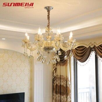 Nowy luksusowy żyrandol oświetlenie K9 kryształ świeca żyrandol lampa wisząca nabłyszczania para sala de jantar do salonu