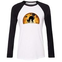IDzn Women T Shirt Happy Halloween Cat Witch Hat Skull Pirate Candy Pattern Raglan Long Sleeve