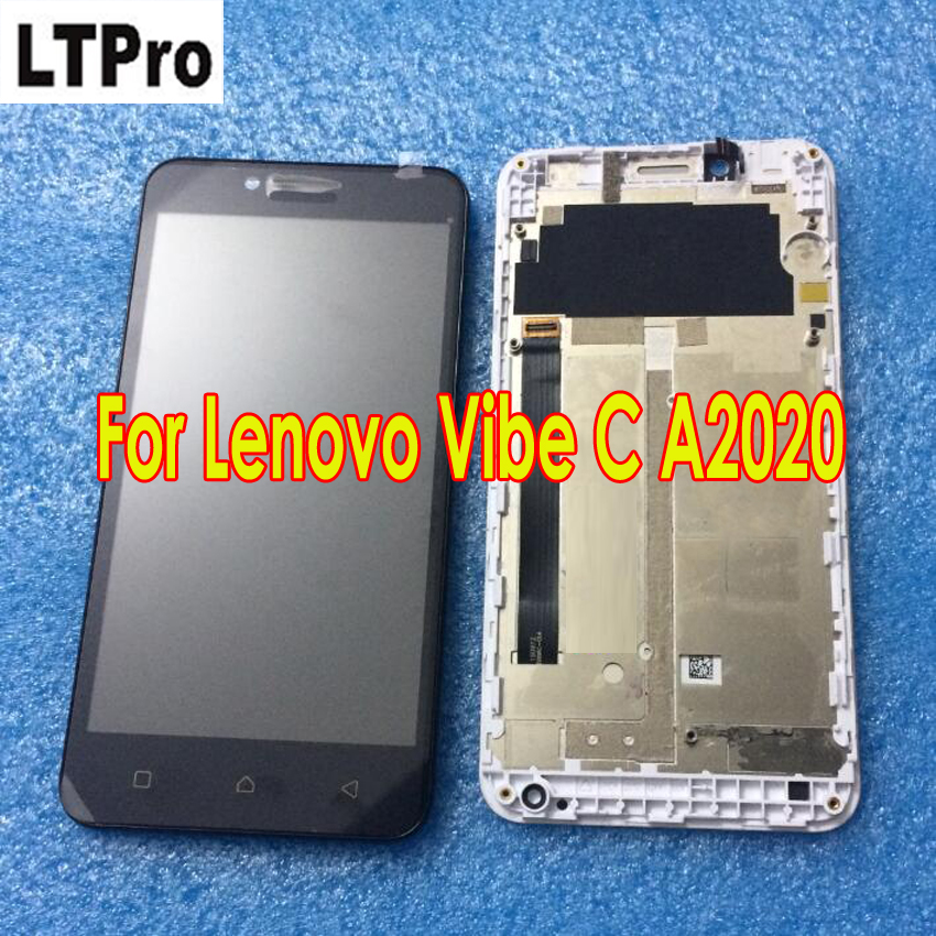 LTPro 100% Guarantee LCD Touch Screen Digitizer Assembly with frame For Lenovo Vibe C A2020 A2020a Phone Sensor Display parts
