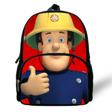 ee0444efbc0 Hot 12-inch Kinderen Cartoon Tas Sam Brandweerman Printing Rugzak Kids  Jongens Kleuterschool Infantil Mini