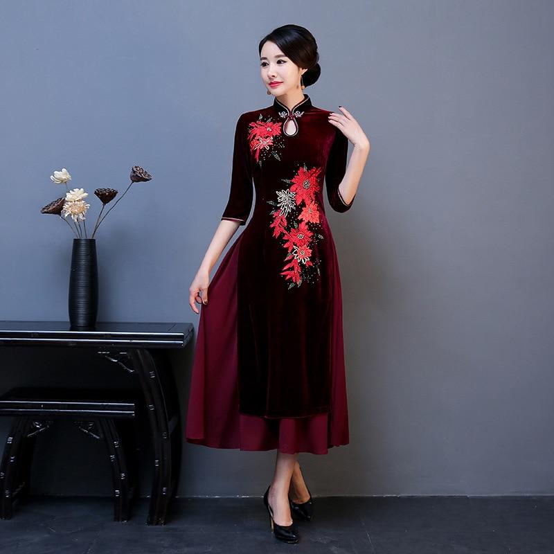 Traditional Mandarin Collar Aodai Cheongsam Chinese Elegant Women Long Qipao Vintage Lady Evening Dress Vestidos Oversized 4XL