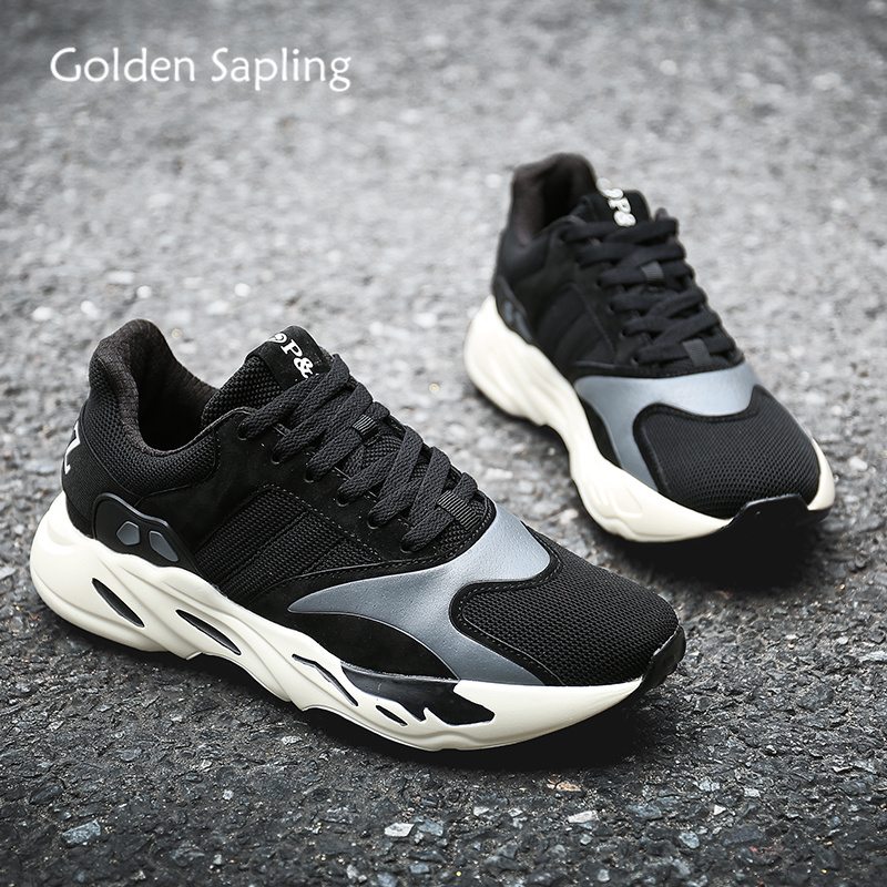 Golden Sapling Black Sneakers for Men Breathable Men's Running Shoes Air Mesh Leather Rubber Mens Sneaker Fitness Man Sport Shoe