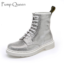 Fashion White Silver Boots Women Punk Boot Shoes Woman 2018 Spring Super Cool Ankle Boots For Women Bota Feminina Zapatos Mujer