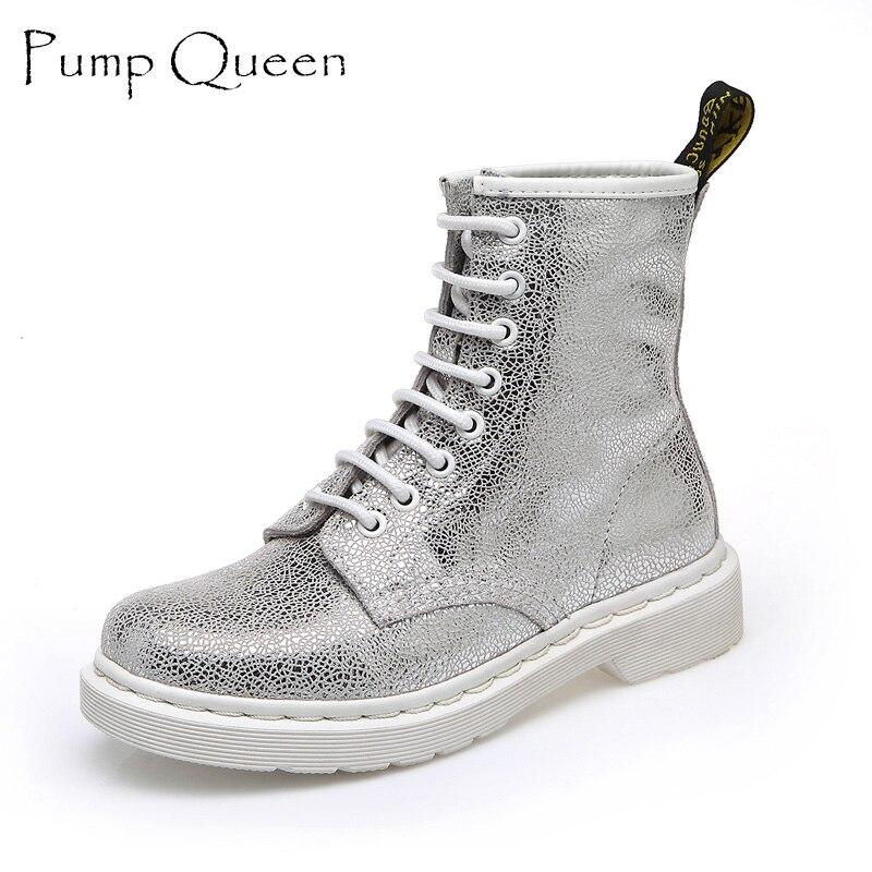 Mode Blanc Argent Bottes Femmes Punk Boot Chaussures Femme 2018 printemps Super Cool Cheville Bottes Pour Femmes Bota Feminina Zapatos Mujer