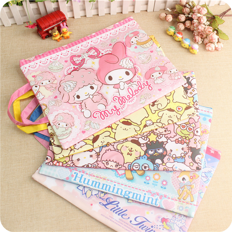 1 Pcs Kawaii My Melody Twin Stars Dog File Document Bag Folder Stationery Filing School Supply For Girls