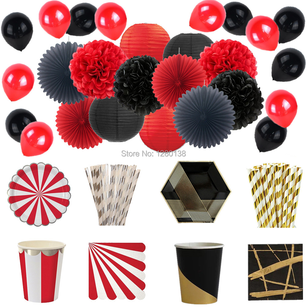 Halloween Decoration Party Tableware Red&Black Paper Lantern Pom Poms Paper Plates Napkins Straws Cups Latex Balloons Christmas