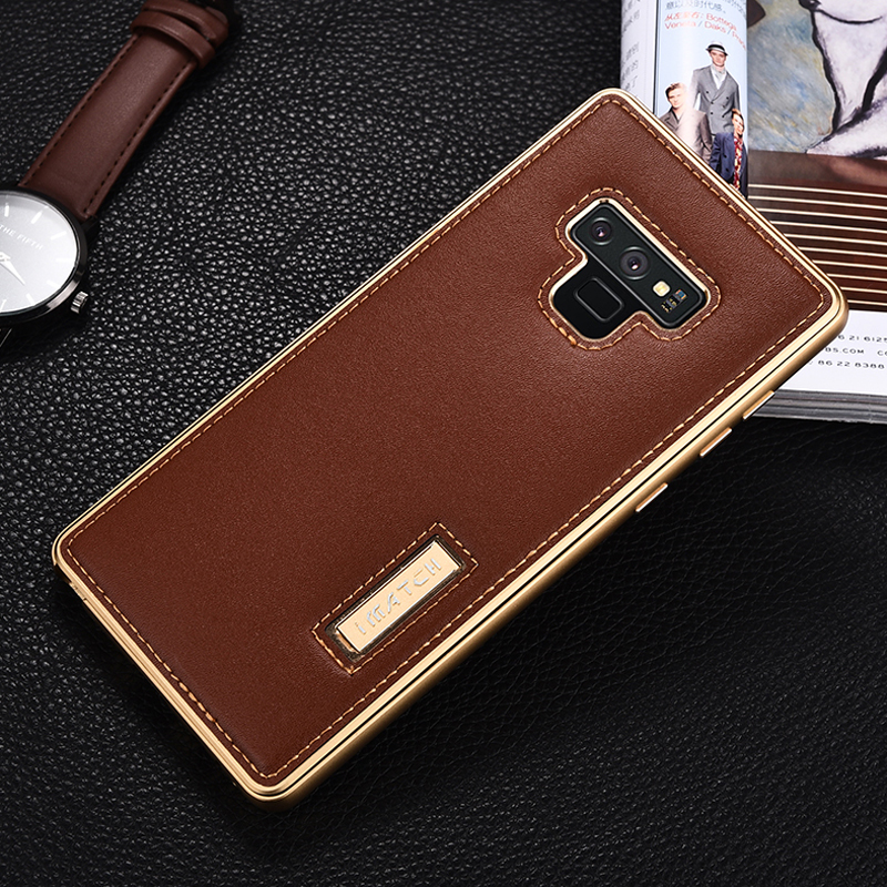Original iMatch For Samsung Note 9 Genuine Leather Case For Samsung Galaxy Note 9 Aluminum Metal Bumper Phone Back Case Cover-in Fitted Cases from Cellphones & Telecommunications    1
