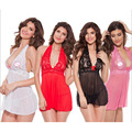 Spring Summer New sexy halter off shoulder nightdress costumes erotic lingerie mesh lace see-through dress plus size XL/XXL 8368