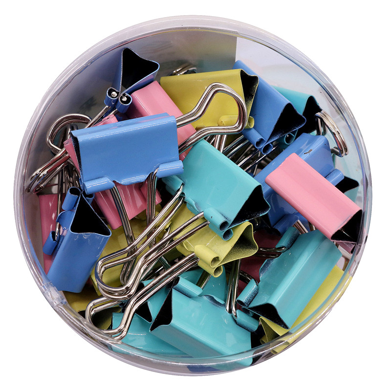 Stationery Wholesale 80pcs Binder Clips Multifunction Clamp 4 Color Memo Clip Metal Paper Clip