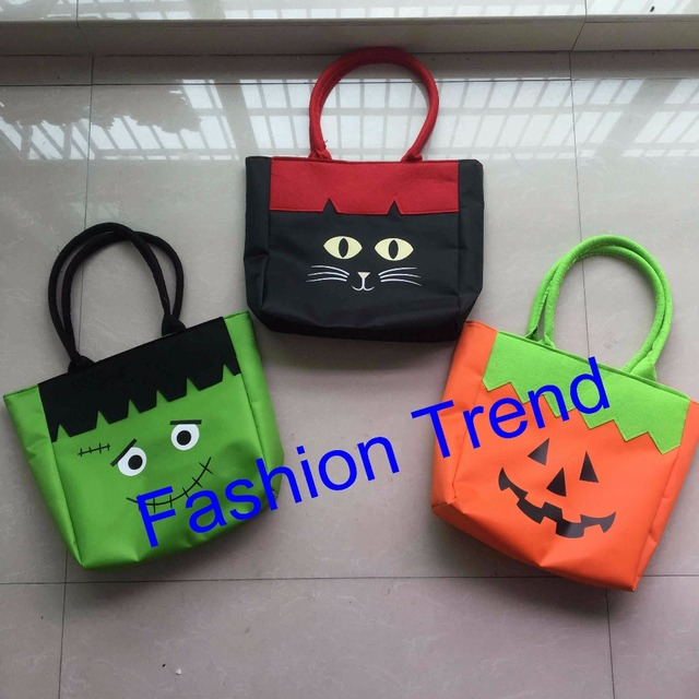 30pcslot free shipping 3 styles wholesale halloween tote bag canvas cotton candy gift bags