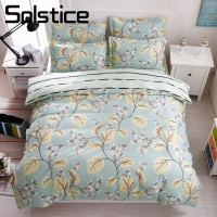 Solstice Home Textile Flower Duvet Cover Pillowcase Stripe Bed Sheet Girls Bedding Sets Twin Queen King Szie Kids Teen Bed Linen