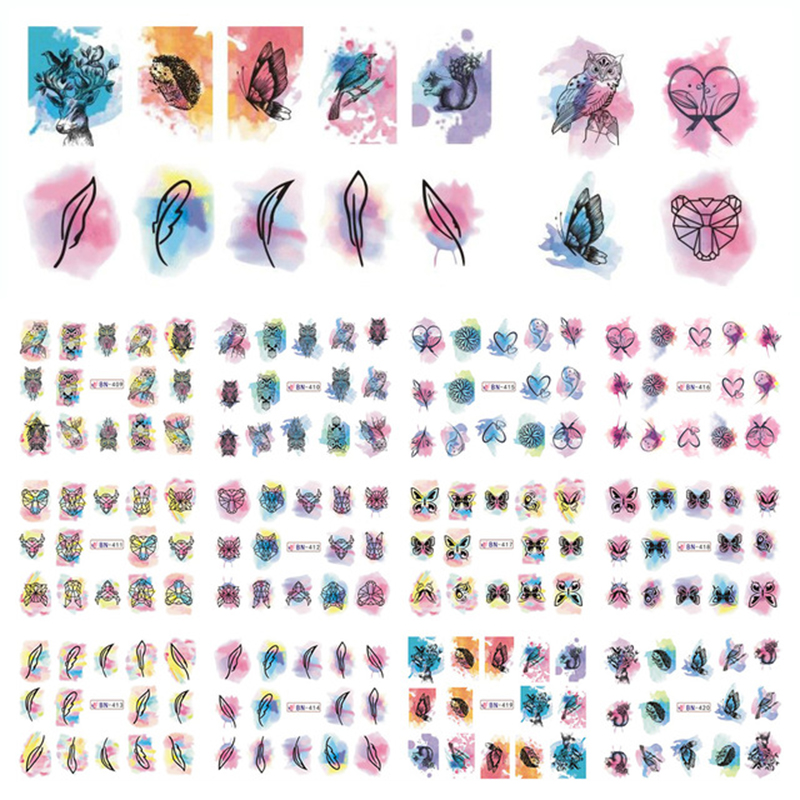 12 Patterns Big Sheet Water Decal Owl Butterfly Dreamcatcher Decals Manicure Nail Art Transfer Sticker roomble тарелка patterns